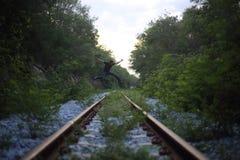 Sautez sur le chemin de fer Photo libre de droits