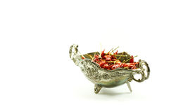 Sautseboat with red peppers Stock Photography
