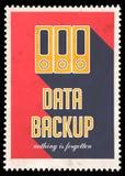 Sauvegarde des données sur le rouge dans la conception plate. illustration stock