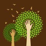 Sauvegardez le concept de verdure avec les têtes humaines illustration libre de droits