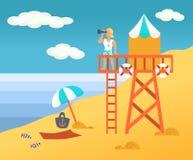 Sauveteur de plage Illustration de Vecteur