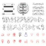 Sauvez épouser et flourish des icônes de date, lettrage de vecteur de calligraphie pour épouser ou carte d'amour - bannière pour  Photographie stock libre de droits