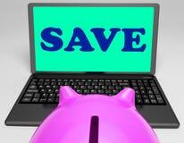 Sauvez l'épargne et les promos en ligne de moyens d'ordinateur portable Image libre de droits