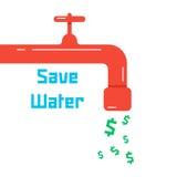 Sauvez l'eau avec le robinet rouge illustration libre de droits