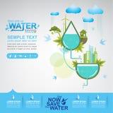 Sauvez l'eau de vecteur de l'eau est la vie Photographie stock libre de droits