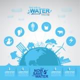 Sauvez l'eau de vecteur de l'eau est la vie Photo stock