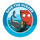 Sauvez l'emblème de bande dessinée d'océans Photographie stock