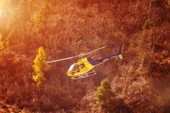 Sauvez l'hélicoptère au-dessus des arbres dans les montagnes Photographie stock libre de droits