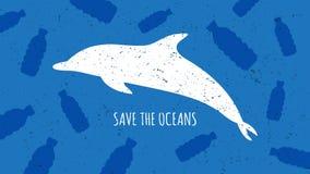 Sauvez l'illustration de vecteur d'océans Images stock