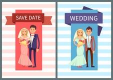 Sauvez l'illustration réglée de vecteur de date et de mariage illustration stock