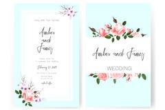 Sauvez la carte de date, épousant l'invitation, la carte de voeux avec de belles fleurs et les lettres photographie stock libre de droits