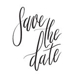 Sauvez la carte de lettrage de main de date, invitation de mariage avec l'inscription moderne de calligraphie Photos stock