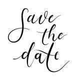 Sauvez la carte de lettrage de main de date, invitation de mariage Calligraphie moderne Images stock