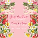 Sauvez la carte de mariage de date avec les fleurs tropicales, fruits, oiseau de flamant Fond floral illustration libre de droits
