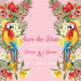 Sauvez la carte de mariage de date avec les fleurs tropicales, fruits, oiseaux de perroquet Fond floral illustration libre de droits