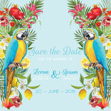 Sauvez la carte de mariage de date avec les fleurs tropicales, fruits, oiseaux de perroquet Fond floral illustration de vecteur