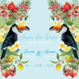 Sauvez la carte de mariage de date avec les fleurs tropicales, fruits, oiseaux de toucan Fond floral illustration stock