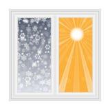 Sauvez la carte postale de la chaleur, fenêtre ouverte avec des flocons de neige Photos libres de droits