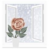 Sauvez la carte postale de la chaleur, fenêtre ouverte avec le fond de flocons de neige Images stock