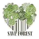 Sauvez la carte postale de vert d'écologie de forêt Photo libre de droits