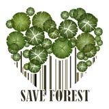 Sauvez la carte postale de vert d'écologie de forêt Photos libres de droits