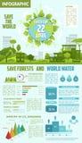 Sauvez la forêt et arrosez l'infographics écologique Photos libres de droits