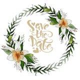Sauvez la guirlande de carte postale de date avec les fleurs et le lettrage de lis illustration libre de droits