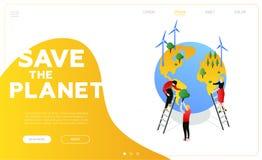 Sauvez la planète - bannière isométrique colorée moderne de Web de vecteur illustration libre de droits