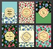 Sauvez le cadre fleuri de date Facile à éditer parfait Photos stock