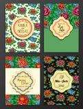Sauvez le cadre fleuri de date Facile à éditer Perfectionnez pour l'invitation Photographie stock libre de droits