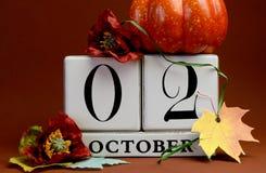 Sauvez le calendrier de bloc blanc de date pour le 2 octobre Images libres de droits