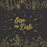 Sauvez le calibre de carte d'invitation de mariage de date décorent de la fleur tirée par la main de guirlande dans le style de v Photos stock