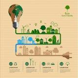 Sauvez le concept amical de puissance d'eco infographic Photo stock