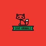 Sauvez le concept d'animaux avec le renard rouge Image stock