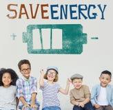 Sauvez le concept d'Eco de voyant d'alimentation d'énergie Image stock