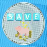 Sauvez le concept de bouton d'argent Illustration illustration stock