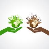 Sauvez le concept de nature avec l'eco et le paysage urbain pollué illustration de vecteur
