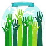 Sauvez le concept environnemental d'écologie du monde Mains vertes et planète bleue illustration stock