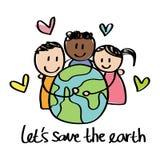 Sauvez le dessin d'enfants de la terre Photographie stock