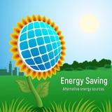 Sauvez le fond de concept de panneau solaire d'énergie, style réaliste illustration stock