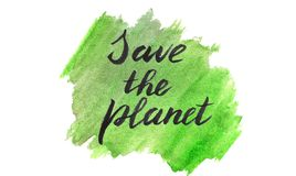 Sauvez le fond organique de vert d'aquarelle de planète illustration libre de droits
