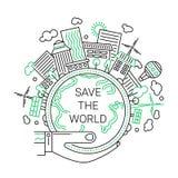 Sauvez le monde - ligne illustration de concept d'écologie de conception illustration libre de droits