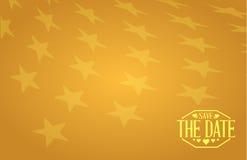 sauvez le signe d'or d'étoiles de date Image stock
