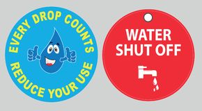 Sauvez le signe de baisse de l'eau illustration libre de droits