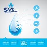 Sauvez le vecteur de l'eau Images stock