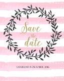 Sauvez le wearth de ligne et de nature d'aquarelle de rose de carte de date Photo libre de droits