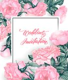 Sauvez les cartes de date avec des roses Peut être employé pour épouser l'invitation, carte d'anniversaire, calibre de vecteur de Photographie stock