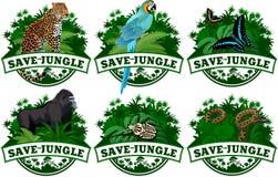 Sauvez les emblèmes de jungle avec des animaux réglés illustration de vecteur