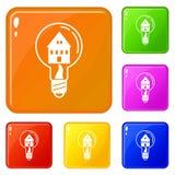 Sauvez les icônes légères à la maison placent la couleur de vecteur illustration de vecteur