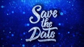Sauvez les salutations bleues de particules de souhaits des textes de date, invitation, fond de célébration illustration stock